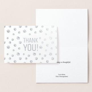 Thank You   Animal Paw Prints Silver Foil Card
