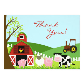 Thank You Animals Flat Card 13 Cm X 18 Cm Invitation Card