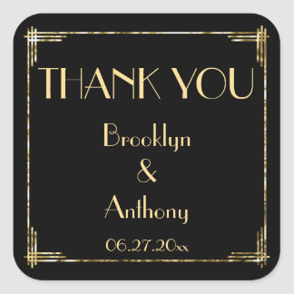 Thank You Art Deco Wedding Stickers Gold Foil
