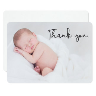 Thank You, Baby Birth Announcement, Rounded corner Card