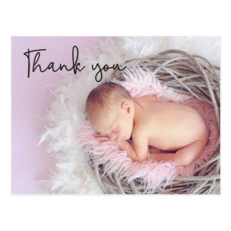 Thank You, Baby Birth Announcement, Script font Postcard