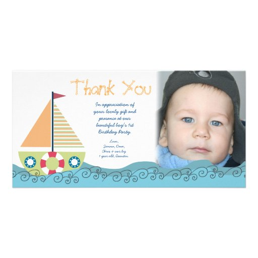 Thank You Baby Boy's 1st Birthday Party Photocard Photo Cards