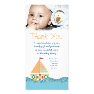 Thank You Baby Boy's 1st Birthday Party Photocard Personalized Photo Card