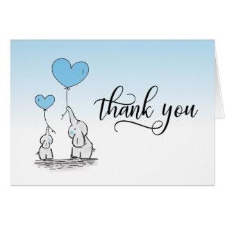 THANK YOU Baby Shower Elephant BOY Blue   BLANK Card