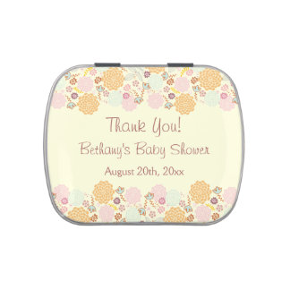 Thank You Baby Shower Favors Fancy Modern Floral Jelly Belly Candy Tins