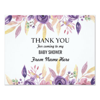 Thank You Baby Shower Girl Boy Lavender Flowers Card