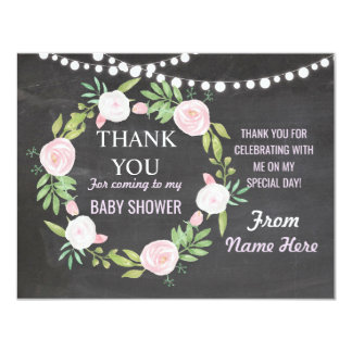 Thank You Baby Shower Girl Cards Chalk Flower