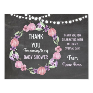 Thank You Baby Shower Girl Cards Pumpkin Pink