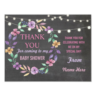 Thank You Baby Shower Girl Cards Twins Flower