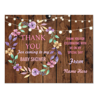 Thank You Baby Shower Girl Cards Wood Flower