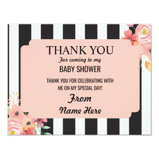 Thank You Baby Shower Girl Flower Coral Stripe Card