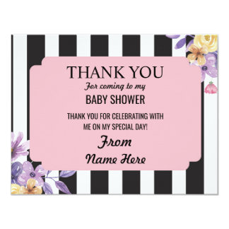 Thank You Baby Shower Girl Flower Pink Stripe Card