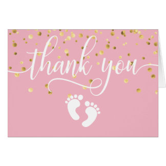 THANK YOU Baby Shower PINK Gold GIRL | BLANK Card