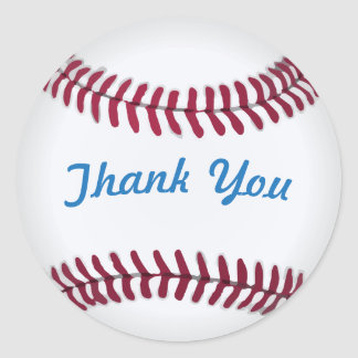 Thank You Baseball Stickers with Custom Words
