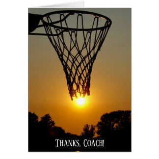 Thank you basketball coach sunset ball card