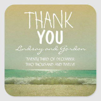 thank you beach wedding sticker