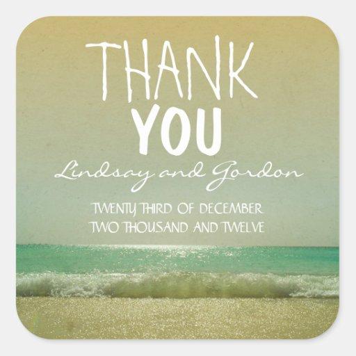 thank you beach wedding sticker