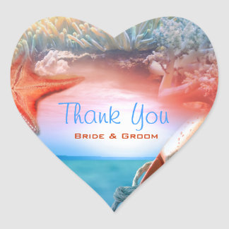 """Thank you"" beach wedding tropical cruise Heart Sticker"