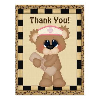 Thank you bear nurse postcard stamp