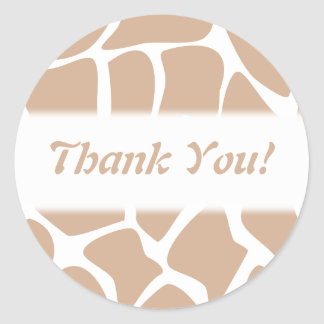 Thank You. Beige and White Giraffe Pattern. Round Stickers
