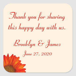 Thank You Beige Fall Wedding Stickers Sunflower
