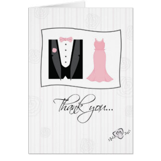 Thank You Being in Our Wedding, Tux, Dress, Pink Card