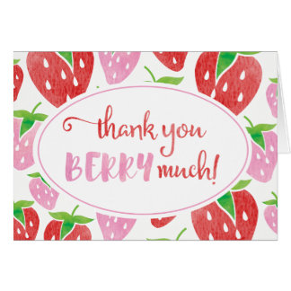 Thank you BERRY much watercolor strawberry card