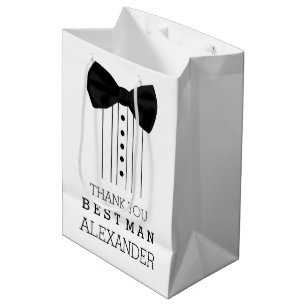 Thank You Best Man Black Bow Tie Tuxedo Shirt Medium Gift Bag