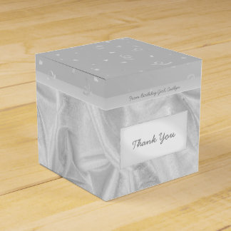 """Thank You"" Birthday Gray Textured Fabric Look Wedding Favour Boxes"
