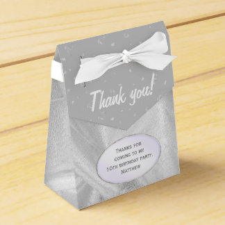 """""""Thank You"""" Birthday Gray Textured Fabric Look Wedding Favour Boxes"""