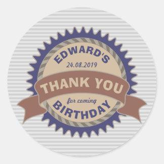Thank You Birthday Party Favor Badge Monogram Logo Classic Round Sticker