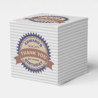 Thank You Birthday Party Favor Badge Monogram Logo Favour Box