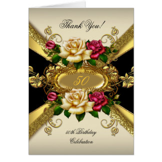 Thank You Birthday Party Roses Red Cream Gold 2 Card