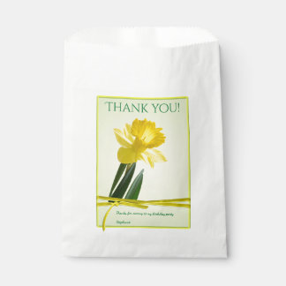 """Thank you"" Birthday Party Yellow Daffodil Picture Favour Bag"