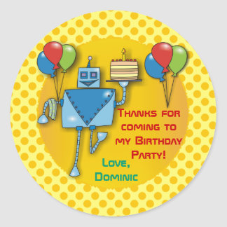 Thank You Birthday Party Yellow Stickers