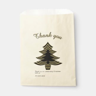 Thank you Black and Gold Christmas Tree  Geometric Favour Bag