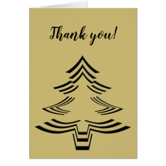 Thank You Black and Gold Christmas Tree Minimalist Card