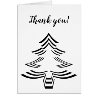 Thank You Black and White Christmas Tree Pattern Card