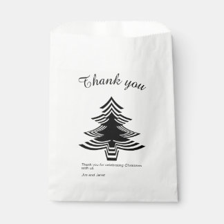Thank you Black and White Christmas Tree  Pattern Favour Bag