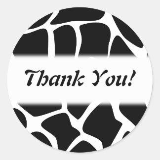 Thank You. Black and White Giraffe Pattern. Round Sticker