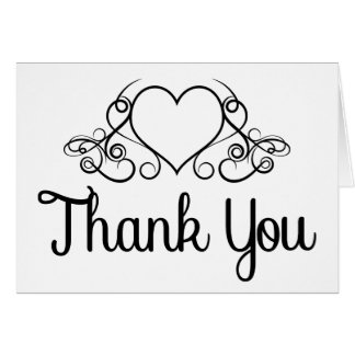 Thank You Black And White Heart Wedding / Business Card