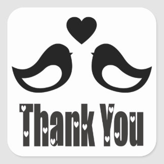 Thank You Black And White Lovebirds Love Square Sticker