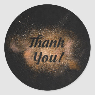 Thank You - Black Background Classic Round Sticker