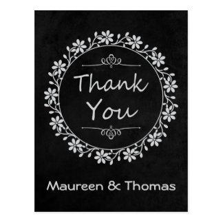Thank You Black Chalkboard Floral Wreath Post Card Postcard