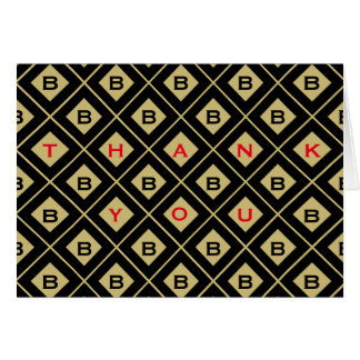 """Thank You"" Black/Gold Geometric Blocks Card"