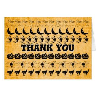 """Thank you"" -  Black/Orange Halloween Font Pattern Card"