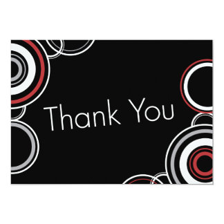 Thank You - Black & Red Circles Personalized Invitations