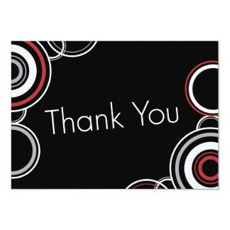 "Thank You - Black & Red Circles 5"" X 7"" Invitation Card"