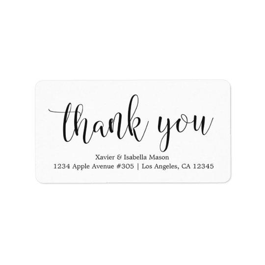 Thank You Black Script - Custom Background Colour Address Label