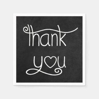 Thank You Black & White Chalkboard Party Napkins Paper Napkin
